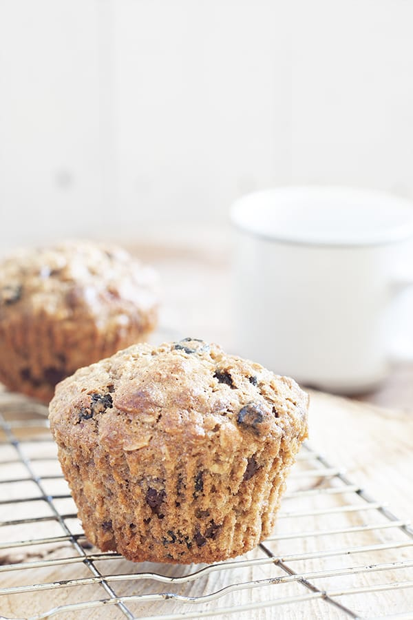 Blueberry & Chocolate Granola Muffins - Rise and shine to the best of both worlds. granola and muffins | cookbakeeat.com #muffin #breakfast #healthy
