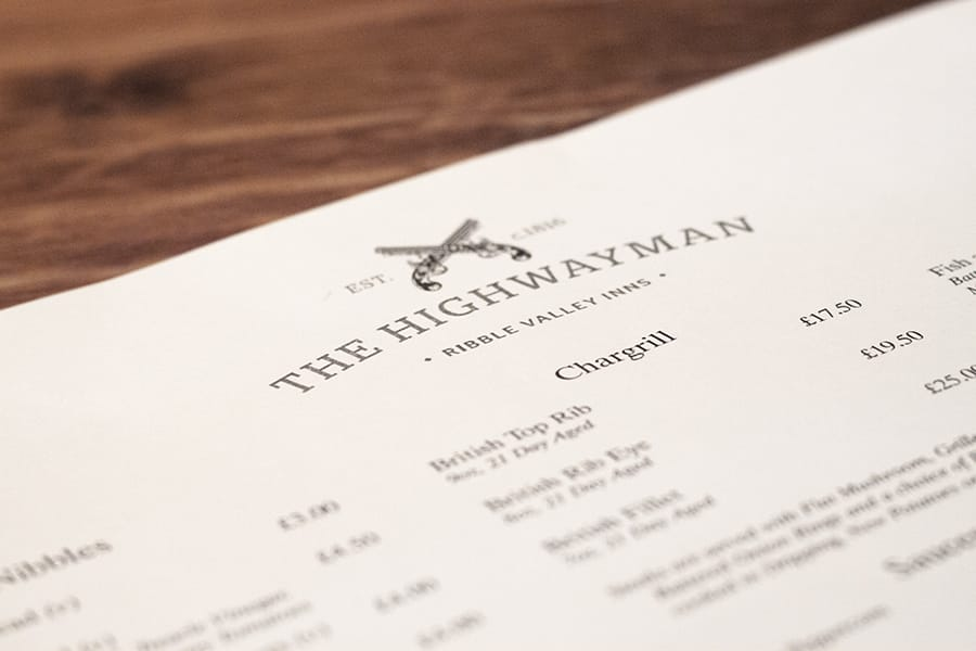 The Highwayman, Cumbria - Menu